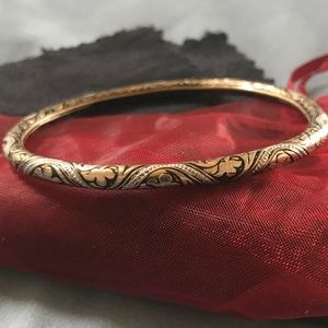 Jewelry - Vintage flex bangle leaf embossed gold and silver